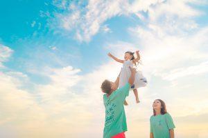 海 バースデーフォト 家族写真