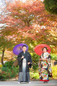 和装 結婚写真 紅葉